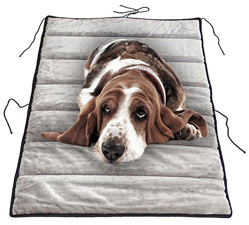 Chien Chien Haustierdecke Chico 100x60, Hundebett Grau - Schwarz, Hundedecke Kunstleder - Plüsch