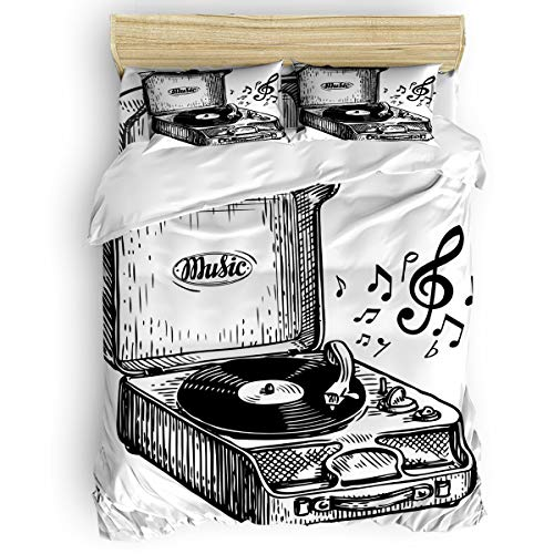 SunShine Day Black White Lines Music Player Melody Ultra Soft Microfiber Teen Bedding Set, Retro Dilapidated Musical Instrument 4 Piece Cal. King Bed Set - 1 Flat Sheet, 1 Quilt Cover, 2 Pillow Cases