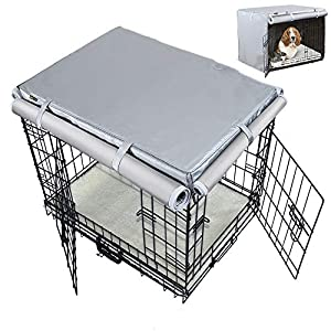 Mr.You Pets Dog Indoor/Outdoor Crate Covers, All-Weather Protection with Four Sides Open Zipper and Six Fastened Straps(36 inch,Oxford Fabrics)