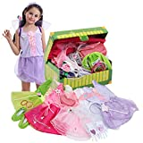 Fedio Girls Princess Dress up Trunk Bride, Princess, Ballerina, Fairy Costume Set for Little Girls Toddlers Age Age 3-7 Pink
