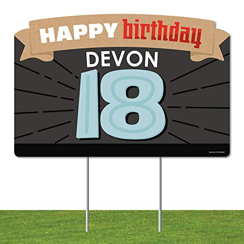 Big Dot of Happiness Personalized Boy 18th Birthday - Eighteenth Birthday Party Yard Sign Lawn Decorations - Happy Birthday Custom Name Party Yardy Sign