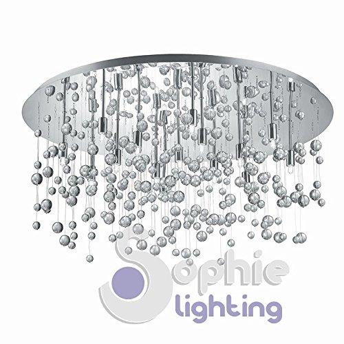 Große Deckenleuchte Deckenlampe rund Ø80cm Design Modern 15Lichter Stahl chrom glänzend Ohrhänger Kugeln Glas Wasserfall Wohnzimmer Lounge Even PL15Sophie Lighting