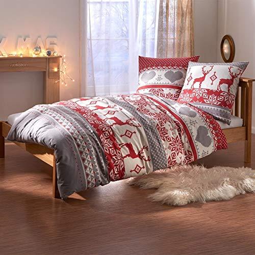 Traumschlaf Feinflanell Bettwäsche Hirsch 1 Bettbezug 135 x 200 cm + 1 Kissenbezug 80 x 80 cm