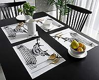 ランチョンマット 動物 鹿 手描き ストライプ 黒白 プレースマット お食事マット 食卓 飾り 断熱 テーブルマット おしゃれ 滑り止め 北欧 丸洗い 雰囲気アップ 家庭レストラン用 6枚