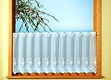 Gardine Scheibengardine weiß aus feinem Jacquard mit handgebogter Spitze Floral HxB 52x150cm teilbar für Flügelfenster oder Sprossenfenster mit Stangendurchzug…auspacken, aufhängen, fertig! Typ243