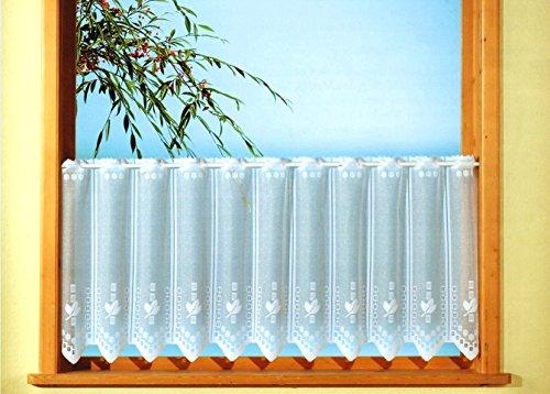 Gardine Scheibengardine weiß aus feinem Jacquard mit handgebogter Spitze Floral HxB 30x150cm teilbar für Flügelfenster oder Sprossenfenster mit Stangendurchzug…auspacken, aufhängen, fertig! Typ243