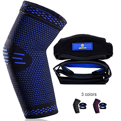 New Technology Elbow Compression Sleeve(1 Pack)+Tennis Elbow Brace (2 Pack),Best Elbow Support Gear for Sports or Daily Use to Prevent and Treat Tendonitis | Tennis Elbow | Golfer's Elbow | Arthritis