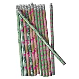 Lg-Imports 12x Bleistifte Flamingo Farn Stift Schreibstift mit Radierer Radiergummi Zeichnen