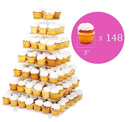 Large 7 Tier Wedding Party Acrylic Glass Cupcake Stand-Cake and Dessert Tower With Rod Feet (7SF)