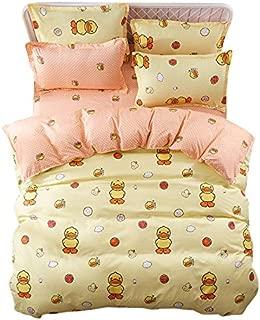 4pcs Bedding Set Duvet Cover Set 100% Combed Cotton Flat Sheet Duvet Cover PillowCase KY Twin Full Queen Easter Eggs Cartoon Design (Twin, Naughty Duck, Yellow)