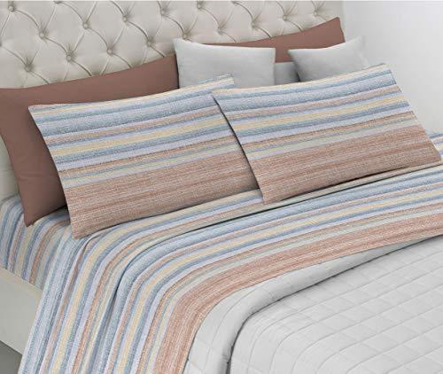 HomeLife Juego de sábanas de algodón Fundas de Almohada | Sábana encimera de 240x290, sábana Bajera de 180x200, 2 Fundas...