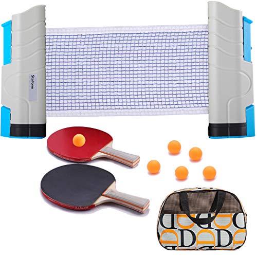 SIRUITON, reti da ping pong da ping pong regolabili, rete di ricambio per tutti i tipi di tavoli, lunghezza regolabile 180 (max) x 14,5 cm (1 rete + 2 racchette + 6 palline)...