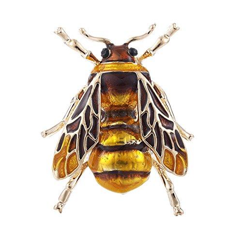 HuntGold Damen Modeschmuck Niedlich Bee Insekt Emaille Korsage Legierung Brosche Braun
