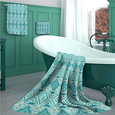 Teal Luxury Bathroom 3-Piece Towel Set, Abstract Geometric Pattern in Vintage Floral Design Historic Architectural Ornament, Picture Print Bath Towel 3D Digital Printing Set Teal Beige