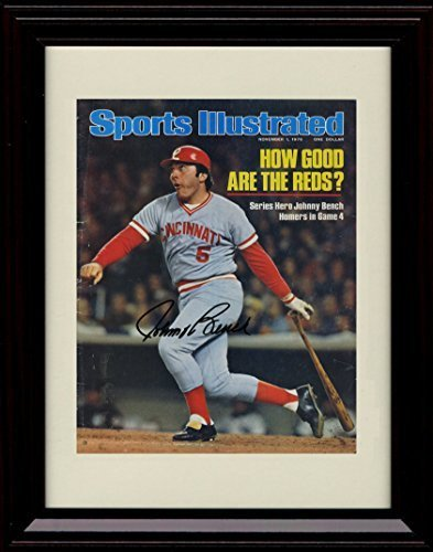 Framed Johnny Bench Sports Illustrated Autograph Replica Print - 76 Champs!