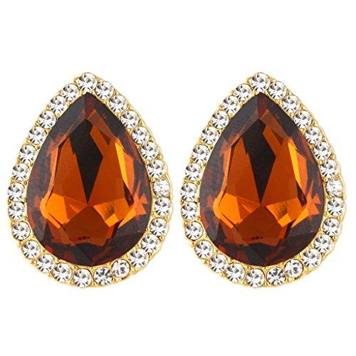EVER FAITH Women's Austrian Crystal Wedding Teardrop Stud Earrings Topaz Color Gold-Tone