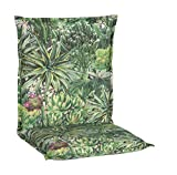 Beo Gartenstuhlauflage Niedriglehner Waschbar Turin   Made in EU Premium-Qualität   UV-beständige Niedriglehner Auflagen   Atmungsaktive Stuhlauflage Niedriglehner mit Kaktus-Muster in Grün