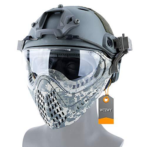 WTZWY PJ Tactical Fast Helmet & Full-Covered Militärschutz Army Combat Airsoft Paintball Maske Schutz Ohren mit 3 Wechselobjektiv für BBS CS Spielkostüm,ACU