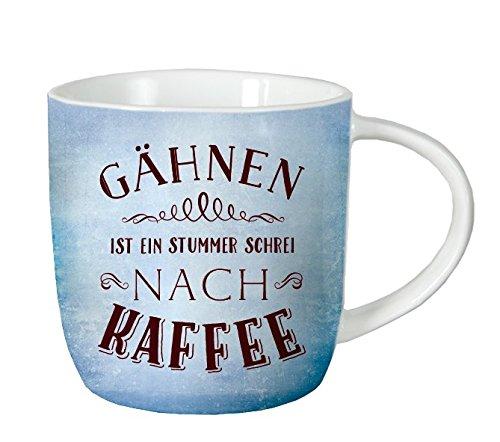 GRAFIK WERKSTATT // Tasse // Gähnen ist ein stummer Schrei nach Kaffee // 12,5 x 9,5 cm // 365g // VintageArt
