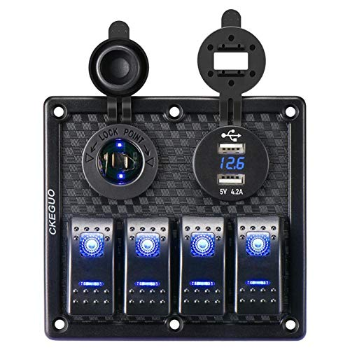 WEIMEIDA Qclj0418 4 Gang 12V Dual USB Port Coche Barco marítimo LED Rocker Interruptor Panel Impermeable Voltímetro Digital LED Rocker Switch Panel Piezas de Repuesto (Color : Black)