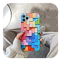 CaTinx for iPhone 12 Mini 11 Pro Max Fashion Creative SE 2020 7 8 Plus X XRXSソフトシリコンプロテクトカバー用3Dカラフルブロックフォンケース-A-for iPhone 7 Plus