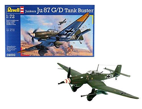 Revell Revell_04692 Modellbausatz Flugzeug 1:72 - Junkers Ju87 G/D Tank Buster im Maßstab 1:72, Level 3, originalgetreue Nachbildung mit vielen Details, 04692