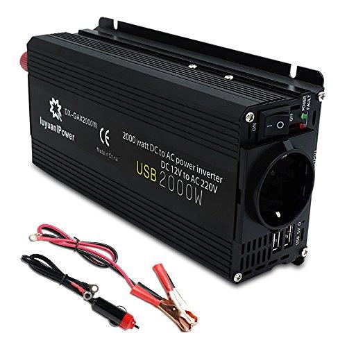 Yinleader - Inversor de Corriente 800W Pico 2000W DC 12V a 220V AC Salida, Dual Puertos...