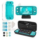Younikoo Kit d'Accessoires 6-en-1 pour Nintendo Switch Lite - Étui de Transport Nintendo Switch Lite/Couverture Transparente/Protecteurs d'Écran/Support Réglable/Capuchons de Joystick