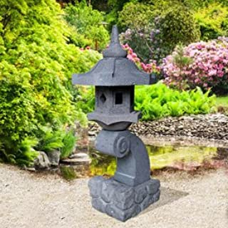 Jardín sueño Farol de piedra lava Jardín chino – naras Hino, Negro: Amazon.es: Jardín