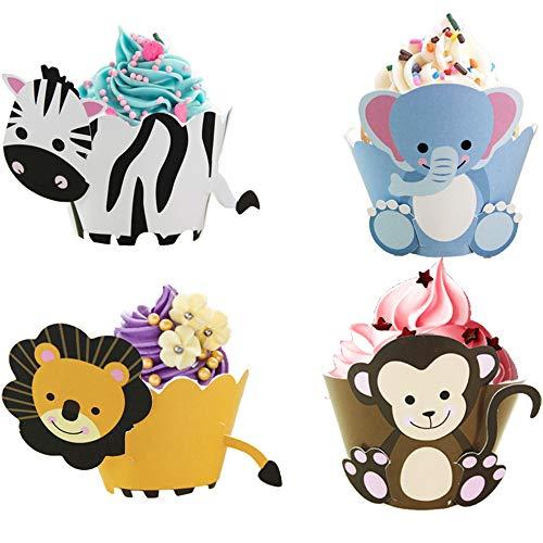 Nuluxi Dinosaurier Cupcake Wrapper Dinosaurier Papier Kuchen Dekorationen Kindergeburtstag Cupcake Wrappers aus Papier Leicht Ablösbares Papier Fettdicht Ideal für Süß und Herzhaft