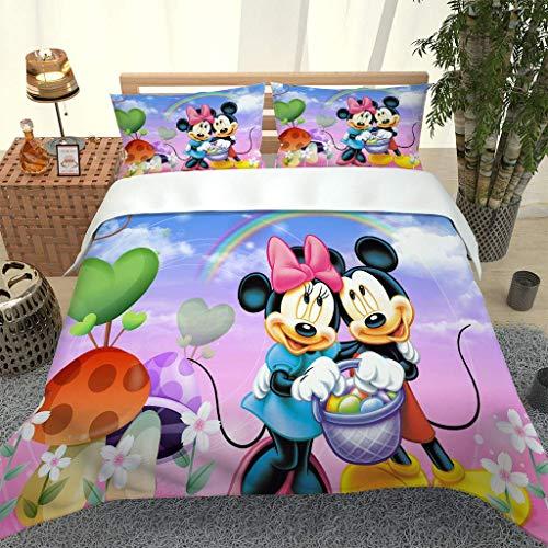 Juego de Funda nórdica 135x200cm Mickey Mouse Juego de Ropa de Cama 2 Piezas Cierre de Cremallera Y 1 Fundas de Almohada 50x75cm Fibra superfina Suave