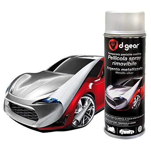 Lancer Vernice Pellicola Spray RIMUOVIBILE Removibile Wrapping D Gear 400ml + 1 Adesivo da pc Ricambi Auto Europa Gratis (Argento Metallizzato)