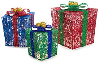 3 Piece Deluxe Lighted Christmas Gift Boxes - 12, 10, & 8 Inches - 100 Lights