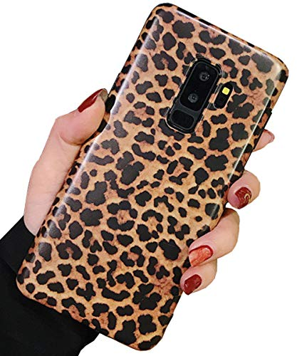 Samsung Galaxy S9 Plus Case, J.west Leopard Protective Cover Shell for Girls Women, Matte Slim Fit Anti Scratch Shockproof Soft TPU Bumper Flexible Rubber Gel Silicone Case for Samsung Galaxy S9+ Plus