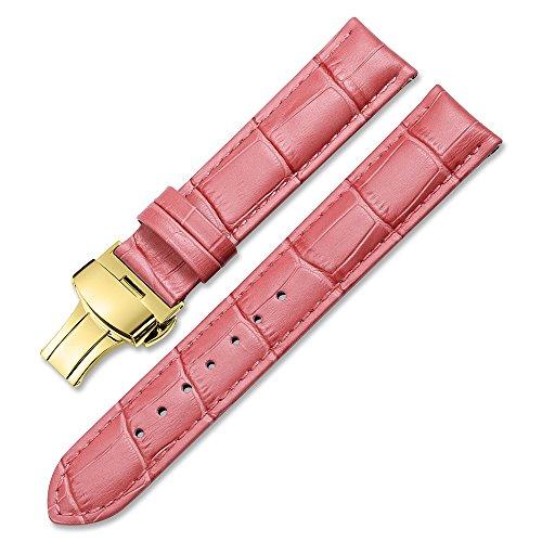 『iStrap 時計ベルト 17mm 18mm 19mm 20mm 21mm 22mm 24mm6色 カーフレザー腕時計バンド 革ベルト ゴールデンDバックル尾錠付き』のトップ画像