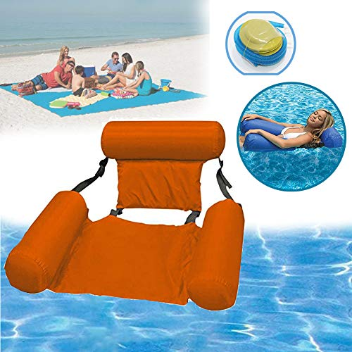 Quvivior Water Play Lounge Chair Lake Swimming Floating Chair Comfortable Portable Inflatable Swimming Pools Lounger Bed for Summer Inflatable Pool Float Lounge Water Chair Orange
