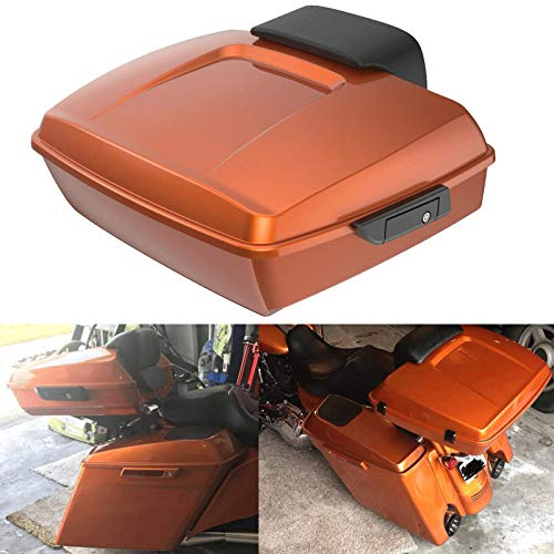 Check Out This Advanblack Amber Whiskey Chopped Tour Pack Backrest Pad Fit for Harley Touring Road S...
