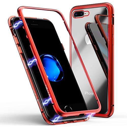 iPhone 8 Plus Case,iPhone 7 Plus Case, ZHIKE Magnetic Adsorption Case Metal Frame Tempered Glass Back with Built-in Magnet Cover for Apple iPhone 7Plus/8 Plus (Red, iPhone 7 Plus/8 Plus)