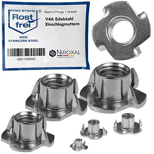 10 Stück M6 rostfreie Edelstahl V2A Einschlagmuttern mit metrischem Gewinde für Holz Kunststoff