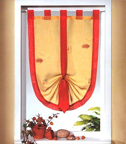 heimtexland Fensterdekoration Schwalbenschwanz Scheibengardine mit Schlaufen in Terra rot 45 x 75 cm individuell raffbar Vorhang Bistrogardine Mediterran Gardine Typ535