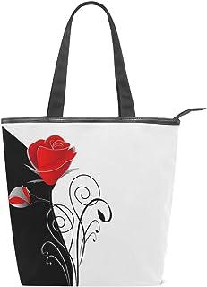jeansame Canvas Tote Bag Damen Shopper Top Griff Taschen Schulterhandtaschen mit Reißverschluss Elegant Schwarz Weiß Blumen Rosen