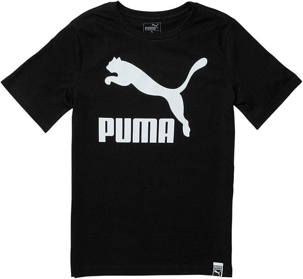 PUMA Kids Boys Classics Pack Archive Logo T-Shirt - Top Crew Neck Crew Neck - Black