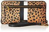 Fossil Women's Logan Faux Leather Wallet RFID Blocking Zip Around Clutch with Wristlet Strap, Cheetah