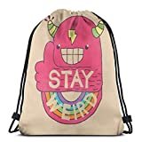 Yuanmeiju Stay Weird! Drawstring Backpack Bag Lightweight Gym Travel Yoga Casual Snackpack Shoulder Bag for Hiking Swimming Beach
