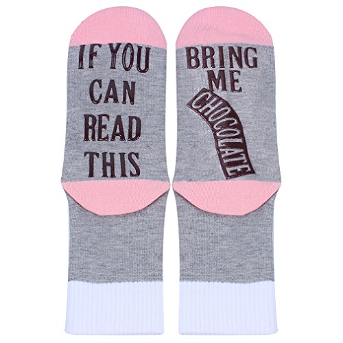 Kokkn Please Do Not Disturb Letter Print Cotton Socks Funny Crew Socks Novelty Socks (IF YOU CAN READ THIS BRING ME CHOCOLATE/Pink)