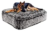 Bessie and Barnie Midnight Frost Extra Plush Shag Faux Fur Luxury Sicilian Rectangle Pet/Dog Bed (Multiple Sizes)