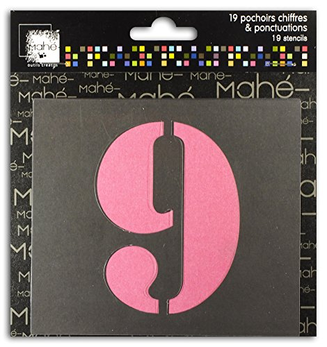 Mahé LE20- 19Plantillas de números, plástico Transparente, 9x 9x 0,1cm