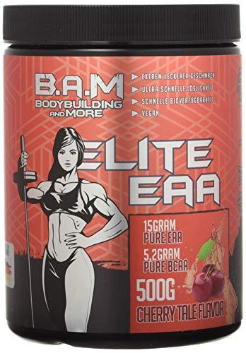 B.A.M. Elite EAA Aminosäure Amino Muskelaufbau Rein Muskelerhalt Fitness Bodybuilding 500g (Cherry Tale)…