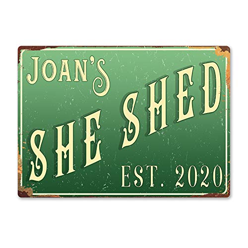 Personalised SHE SHED - Custom Name - Green – Medium Sticky Pads | Printed Metal Wall Sign Plaque