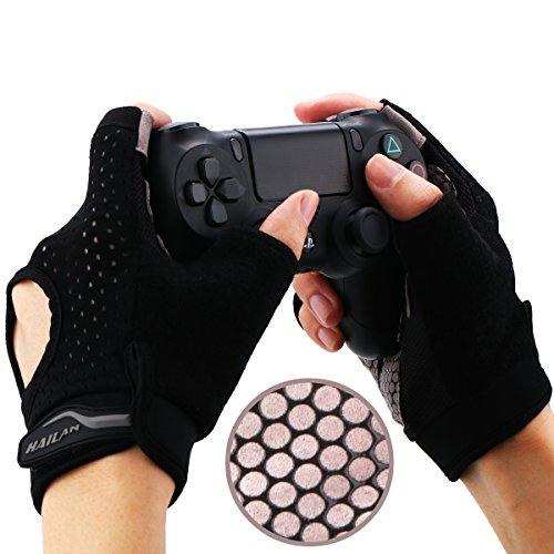 YoRHa Gaming Handschuhe Silikongriff Anti-Rutsch Anti-Schweiß Stoma Atmungsaktiv Design Perfekt bequeme Passform.Perfekt zum halten PS4,Xbox One,Switch und andere Game Controller(schwarz)M 3.6-4